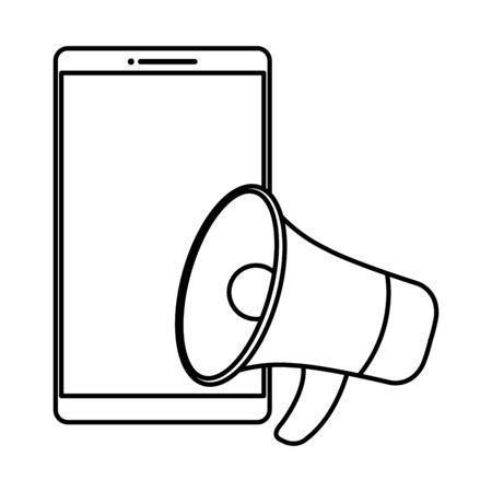 Megaphone and smartphone design, Amplifer speaker bullhorn announce speech message communication and sound theme Vector illustration