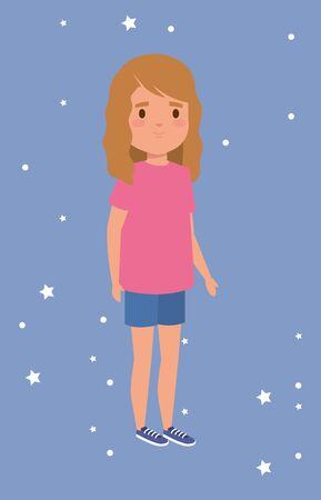 cute little girl avatar character vector illustration design