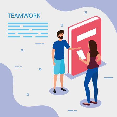 work team couple with book vector illustration design Ilustracja