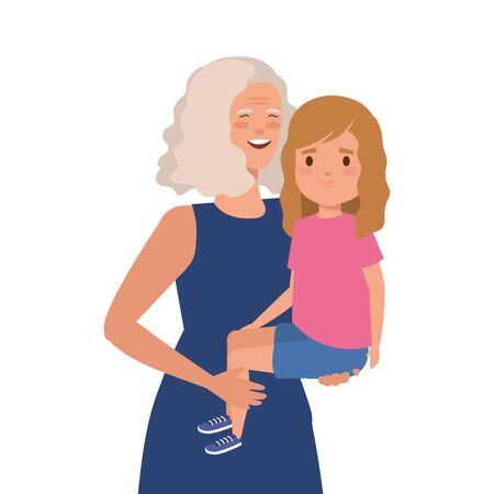 grandmother with granddaughter avatar character vector illustration design Vektorové ilustrace