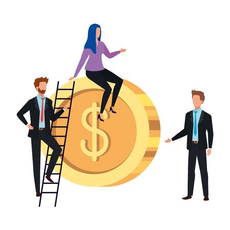 Coin and people design, Money finance commerce market payment invest and buy theme Vector illustration