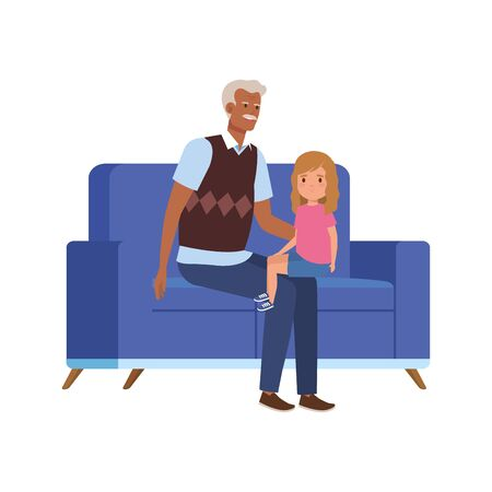 grandfather with granddaughter sitting in sofa vector illustration design