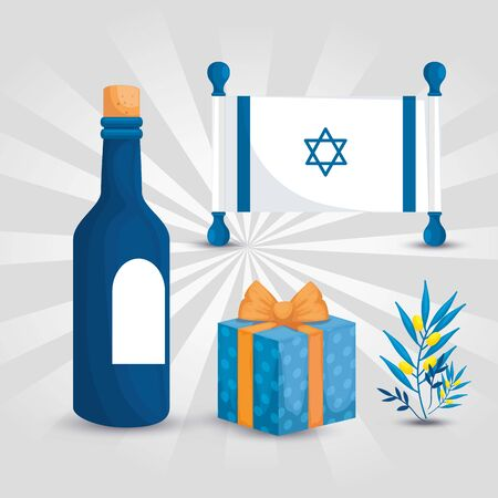 flag israel with bottle wine and icons vector illustration design