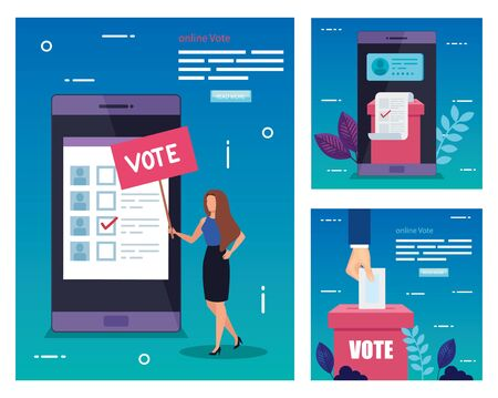 set poster of vote with icons vector illustration design Stock fotó - 137598499