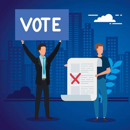 uomini d'affari con modulo di voto nel disegno di illustrazione vettoriale di paesaggio urbano