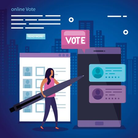 poster of vote online with business woman and smartphone vector illustration design Stock fotó - 137598551