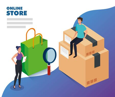 online store with people and icons vector illustration design