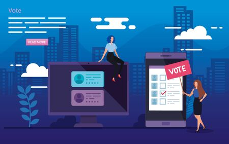 poster of vote with business women in cityscape illustration vector illustration design Stock fotó - 137600131