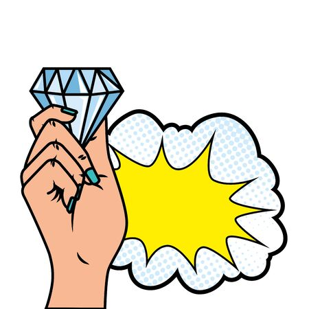 hand with diamond and cloud pop art style icon vector illustration design