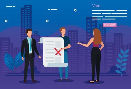 poster of vote with business people and icons vector illustration design Stock fotó - 137599570