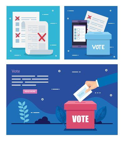 Establecer cartel de voto con iconos, diseño de ilustraciones vectoriales