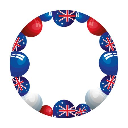 frame circular with balloons helium with flag australia vector illustration design