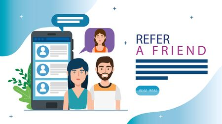 refer a friend with people and smartphone vector illustration design