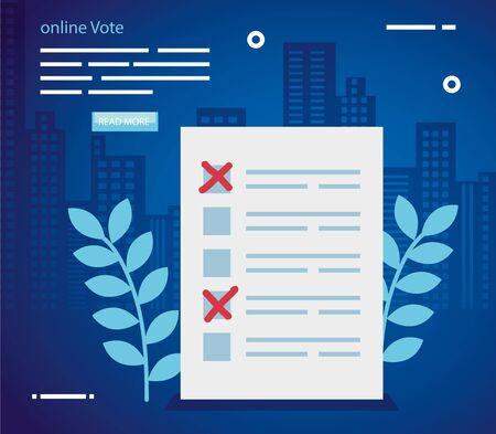 Vote de l'affiche en ligne avec la conception d'illustration vectorielle en papier de forme de vote