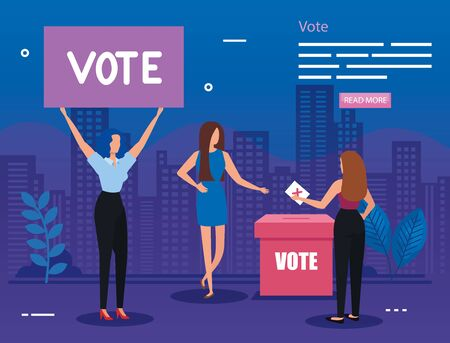 poster of vote with business women in cityscape illustration vector illustration design
