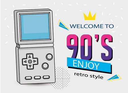 poster of welcome nineties with video game handle vector illustration design