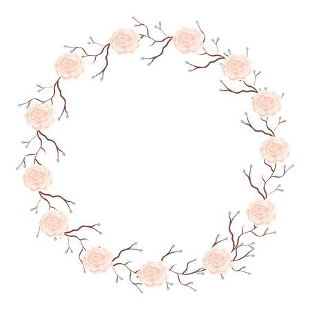 frame circular of roses with branches isolated icon vector illustration design Illustration