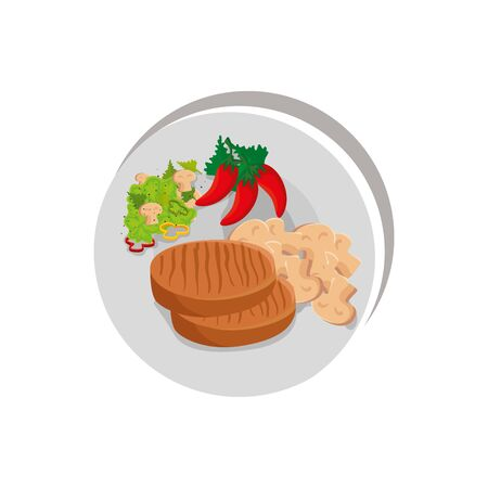 beef steak with vegetables in dish isolated icon vector illustration design