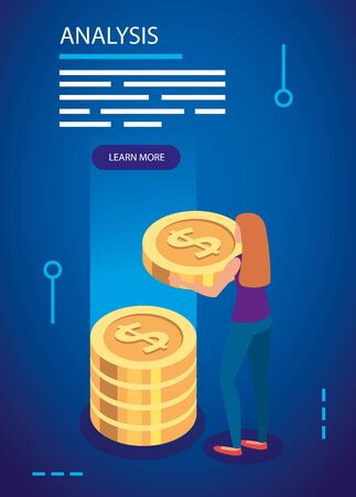 analysis data with woman and pile coins vector illustration design