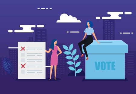 poster of vote with business people and icons vector illustration design Illustration