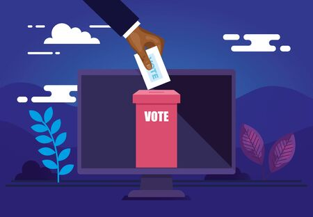 poster of vote online with computer and icons vector illustration design Stock fotó - 137626996