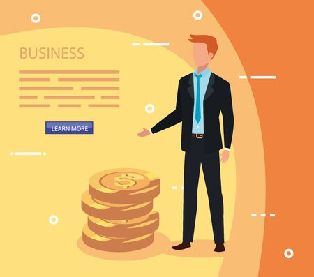 businessman with pile coins avatar character vector illustration design