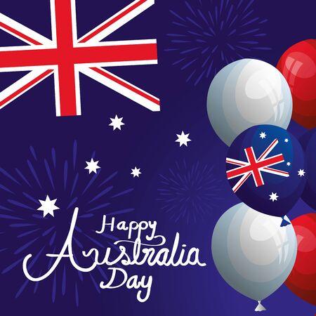 Feliz día de Australia con bandera y globos de helio, diseño de ilustraciones vectoriales