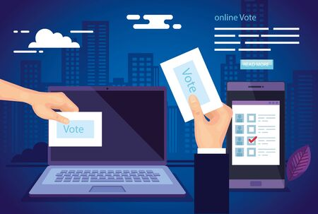 poster of vote online with laptop and smartphone vector illustration design 版權商用圖片 - 137629377