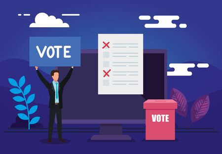 poster of vote online with computer and businessman vector illustration design Stock fotó - 137629378