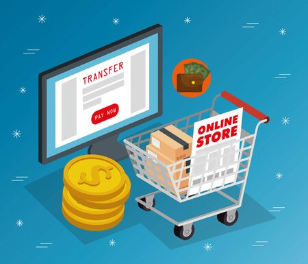 online store with computer and icons vector illustration design