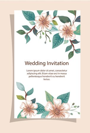 wedding invitation card with flowers decoration vector illustration design