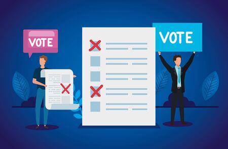 businessmen with vote form avatar characters vector illustration design Illusztráció