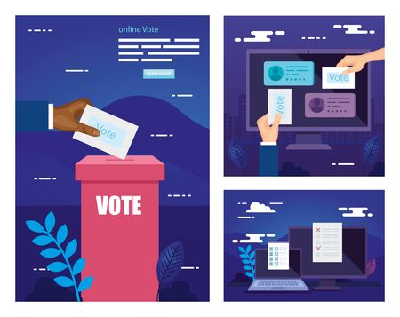 set poster of vote with icons vector illustration design Stock fotó - 137630000