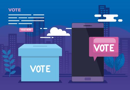poster of vote online with smartphone and icons vector illustration design Stock fotó - 137630011