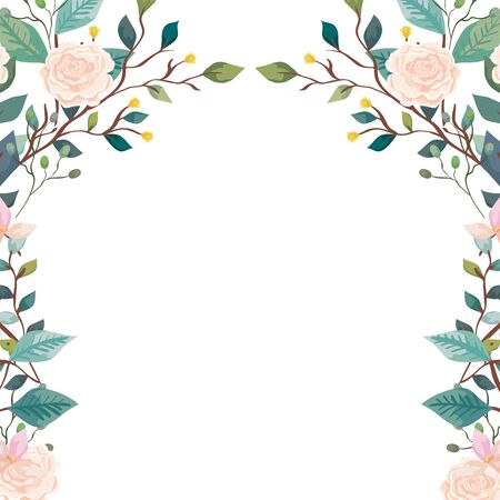 frame of roses with branches and leaf isolated icon vector illustration design