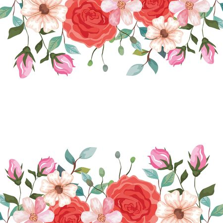 frame of roses with branches and flowers decoration vector illustration design