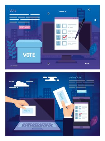 set poster of vote with icons vector illustration design Stock fotó - 137628411
