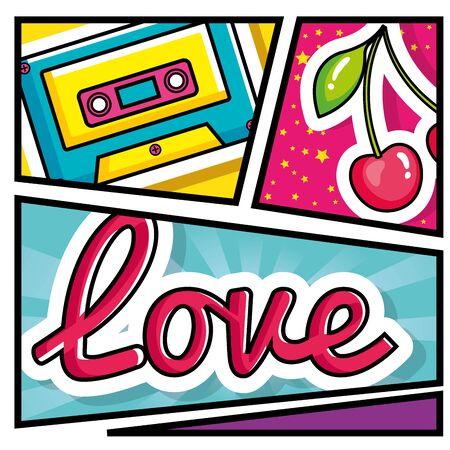cassette music with cherries and love lettering pop art style vector illustration design 向量圖像
