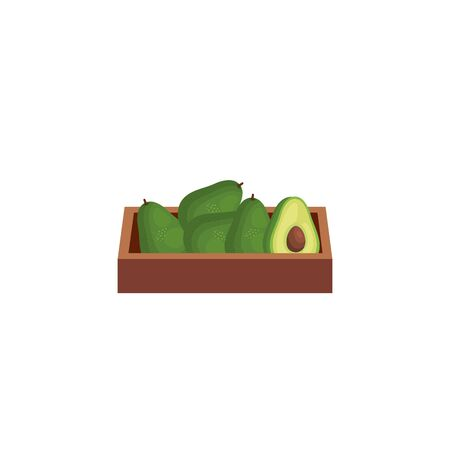 avocados vegetables in wooden box isolated icon vector illustration design