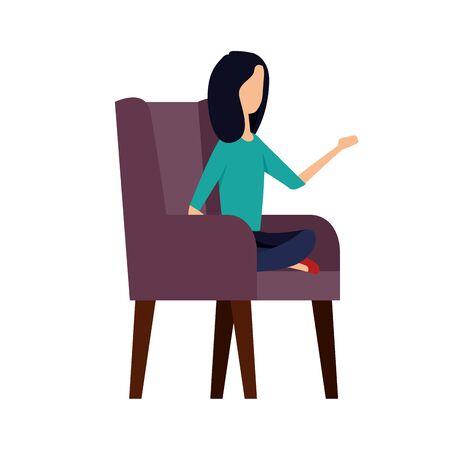 elegant businesswoman worker in the sofa vector illustration design Reklamní fotografie - 137671595