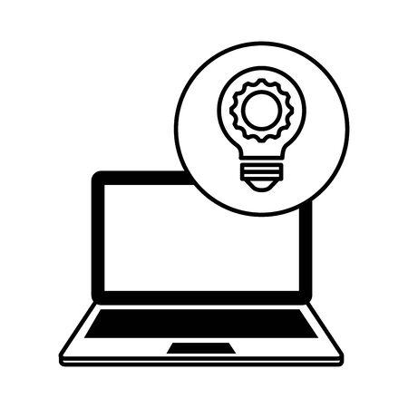 laptop computer with bulb light vector illustration design  イラスト・ベクター素材