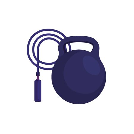 rope jump with dumbbell isolated icon vector illustration design