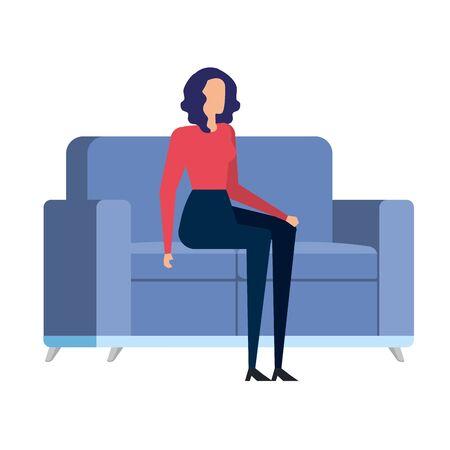 elegant businesswoman worker in livingroom vector illustration design Reklamní fotografie - 137734889