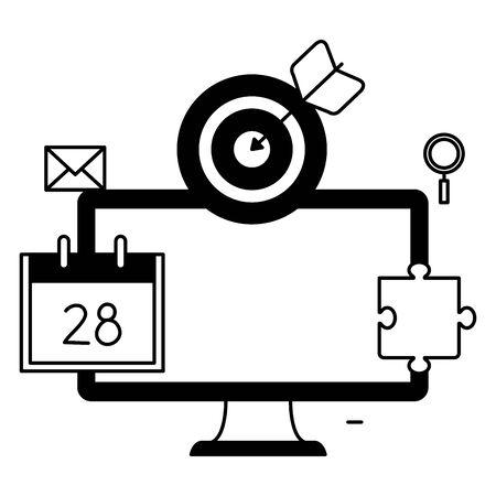 desktop with calendar and target vector illustration design