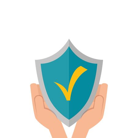 hands and shield with check symbol isolated icon vector illustration design