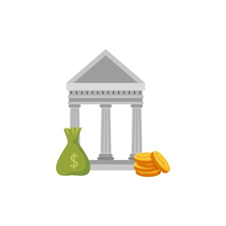 bank structure with bag money and coins vector illustration design