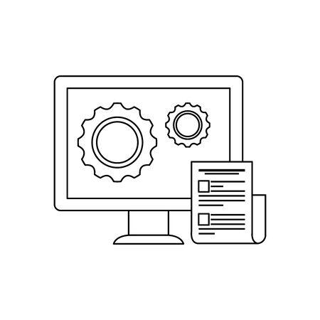 desktop computer with gears settings vector illustration design  イラスト・ベクター素材