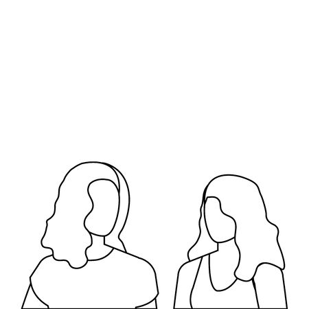 beautiful and young women characters vector illustration design