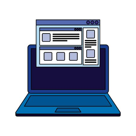laptop computer with webpage template vector illustration design