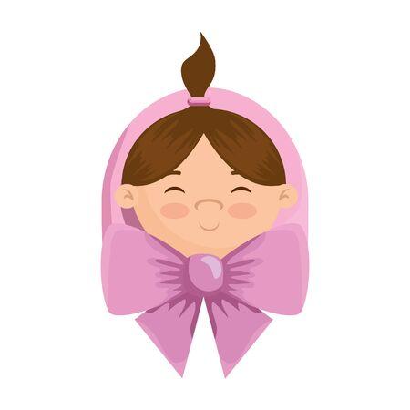 cute little girl baby character vector illustration design